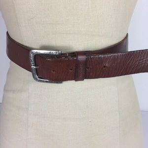 Timberland Brown Silver Buckle Leather 36 Belt